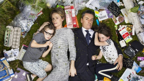 Celebrity wardrobe stylist Miles Siggins and his family had the most stylist garbage display in their 7 Days of Garbage photo.