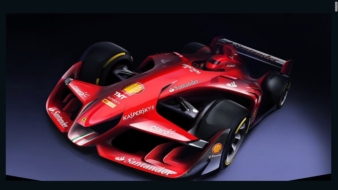 Ferrari has revealed its concept for a radical redesign of a Formula One car on its website.