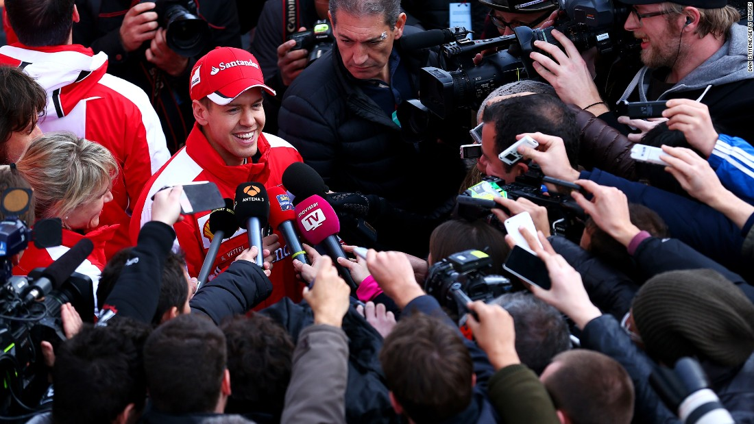 New Ferrari driver Sebastian Vettel was the center of attention from the media scrum as he made his driving debut for the team during the February test.