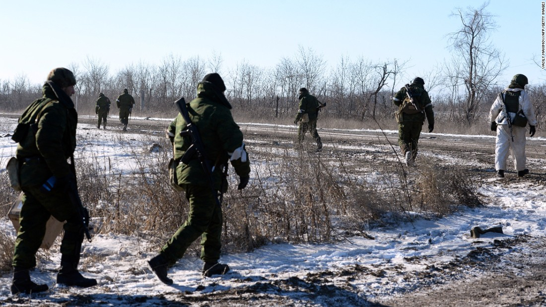 Pro-Russian rebels leave for a combat mission near Debaltseve.