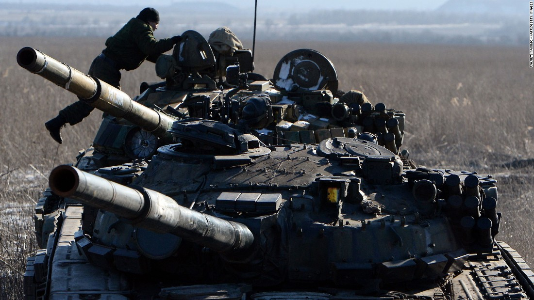 Pro-Russian separatists take position near Uglegorsk, Ukraine, on February 18.