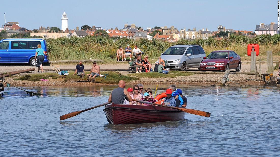The Walberswick is the UK's only remaining rowed ferry. The boat is operated by one rower and carries 11 people, each of whom pay around 50 cents to make the five-minute journey.