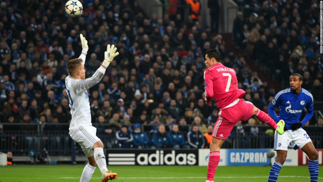 Ronaldo scored the opening goal in Real Madrid's 2-0 win at Schalke in the round of 16.