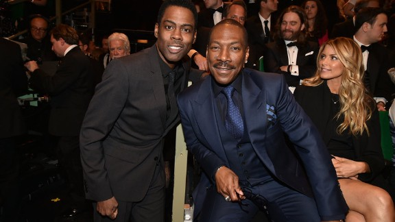 """Chris Rock, left, introduced Eddie Murphy on Sunday during the """"SNL"""" 40th anniversary special."""