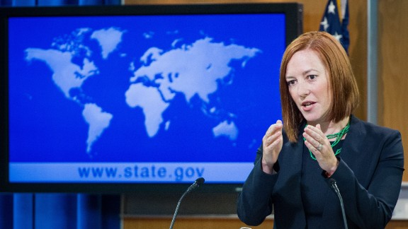 US State Department spokesperson Jen Psaki conducts her daily briefing for reporters in June 2014 at the State Department in Washington.