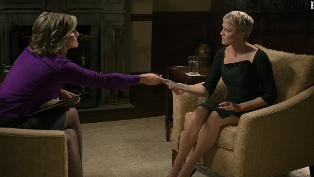 Claire Underwood sat down for a live interview with CNN's Ashleigh Banfield in which she confessed she once had an abortion after being raped in college. The appearance humanized her and boosted the Underwoods' visibility.