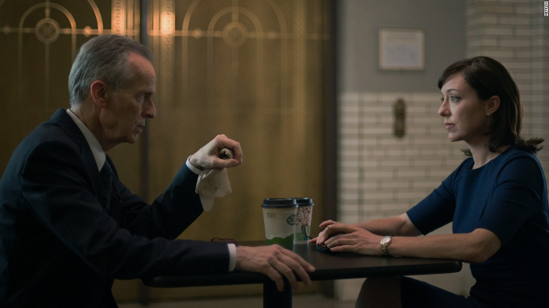 "Congresswoman Jacqueline ""Jackie"" Sharp (Molly Parker) shares coffee with her mentor, Ted Havemeyer (David Clennon). After Frank Underwood became vice president he made sure Sharp succeeded him as House Majority Whip, although their loyalties were often strained."