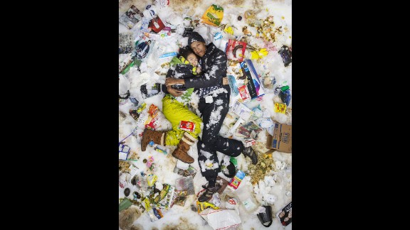 """Art and Sean pose in """"7 Days of Garbage"""" for photographer Gregg Segal."""