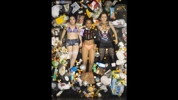 """Roommates pose for Gregg Segal's """"7 days of Garbage"""" series"""