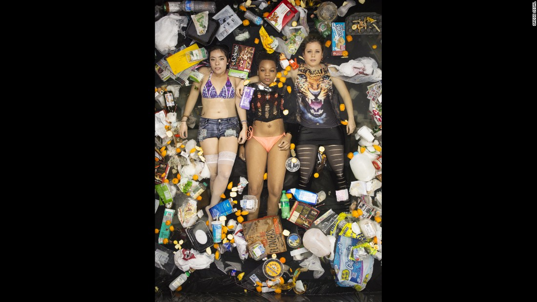"Roommates pose for Gregg Segal's ""7 days of Garbage"" series"