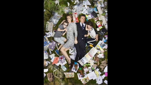 """Celebrity wardrobe stylist Miles Siggins and his family had the most stylish garbage display in their """"7 Days of Garbage"""" photo."""