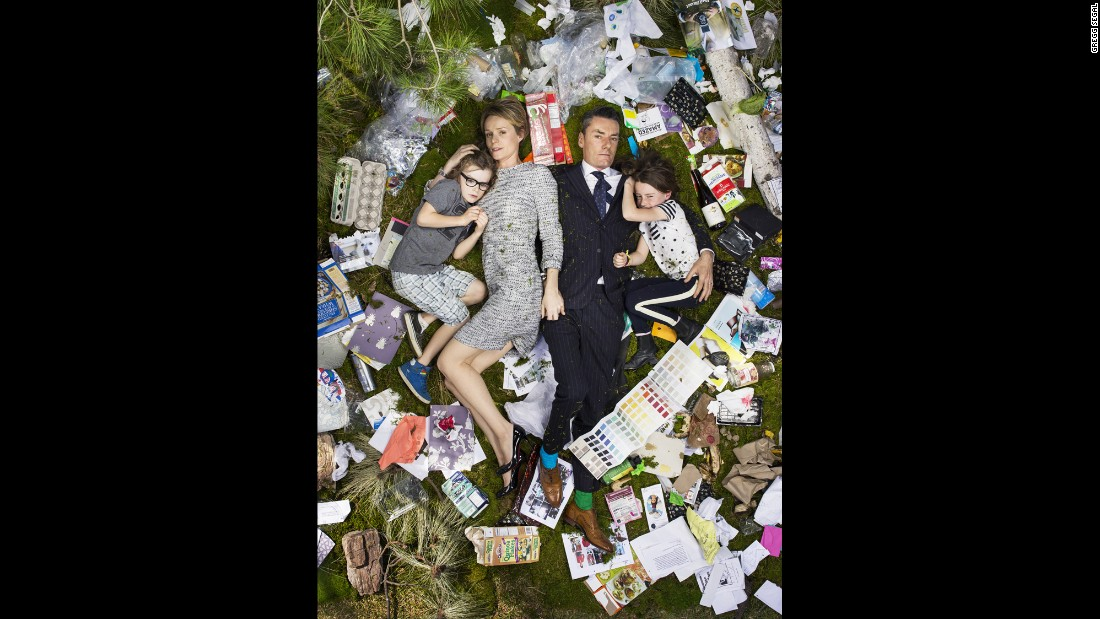 "Celebrity wardrobe stylist Miles Siggins and his family had the most stylish garbage display in their ""7 Days of Garbage"" photo."