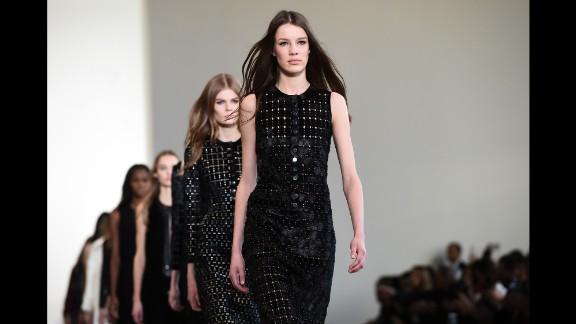 Models walk in Calvin Klein's mod yet minimalist collection.