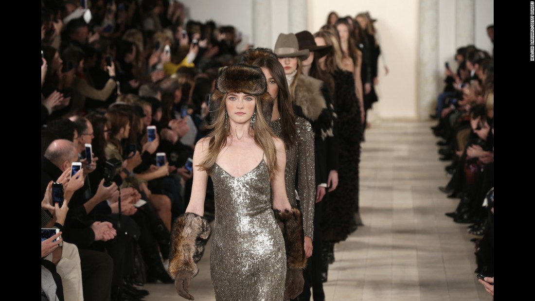 Ralph Lauren paired fur-like and Western-inspired accessories with his signature polished aesthetic.