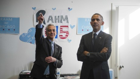 Chicago Mayor Rahm Emanuel hopes a visit from President Barack Obama can push him over the 50% threshold needed to avoid a runoff election.