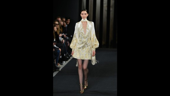 J. Mendel's collection embraced fall's 1970s trend with skinny scarves and gold jacquard.