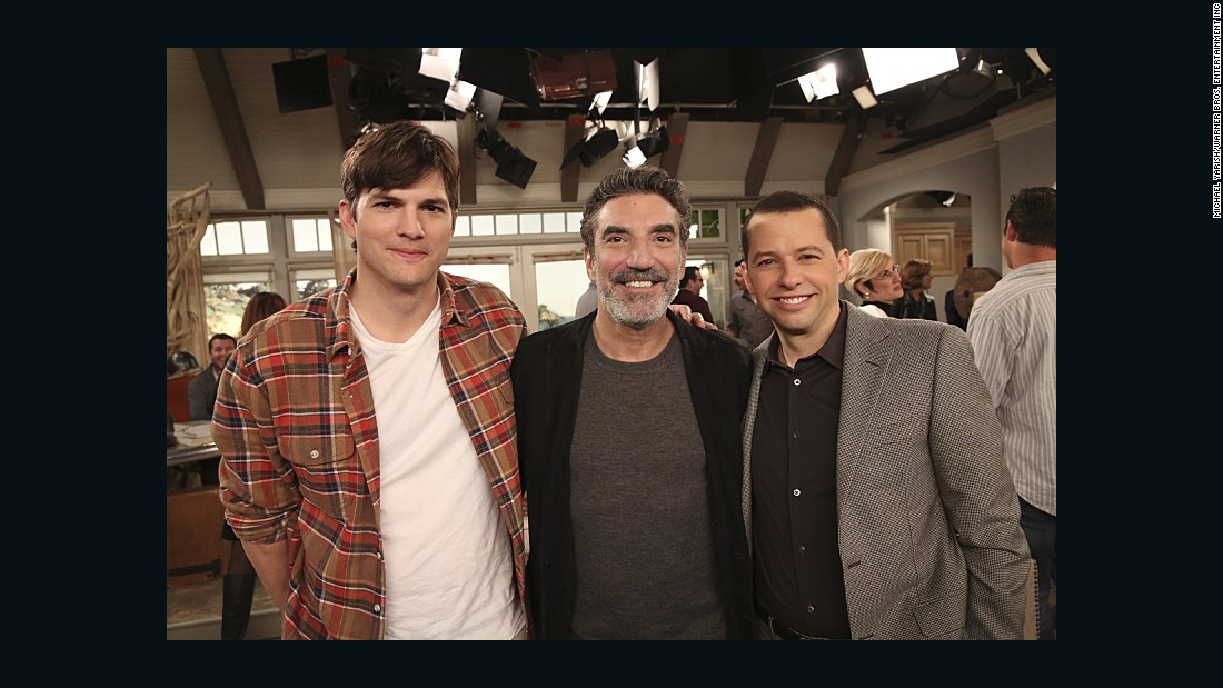 "Ashton Kutcher, from left, creator/executive producer Chuck Lorre and Jon Cryer all appeared in what many have called a downright bizarre series finale of ""Two and a Half Men."" Some fans were unhappy that Charlie Sheen did not make an appearance."