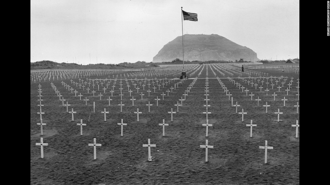 A U.S. Marine cemetery at the foot of Mount Suribachi in 1945.