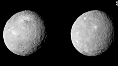 These two views of Ceres were acquired by NASA's Dawn spacecraft on Feb. 12, 2015, from a distance of about 52,000 miles (83,000 kilometers) as the dwarf planet rotated. The images, which were taken about 10 hours apart, have been magnified from their original size