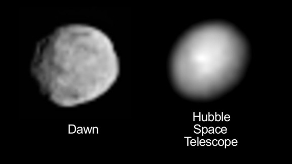 This image compares an image of Vesta taken by Dawn as it moved in on the protoplanet with one taken by the Hubble Space Telescope. Before the Dawn mission, the Hubble image was the best available.