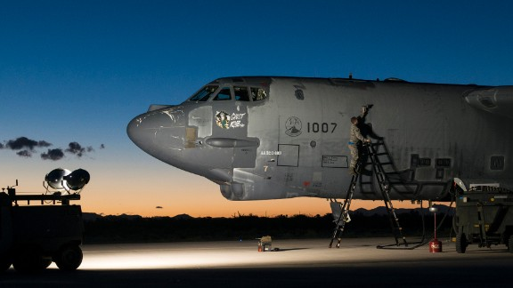 Ghost Rider is prepared for an early morning taxi test on February 12. The plane, out of service since 2008, was restored to flying condition to replace a B-52 that was damaged by fire at Barksdale Air Force Base in Shreveport, Louisiana.