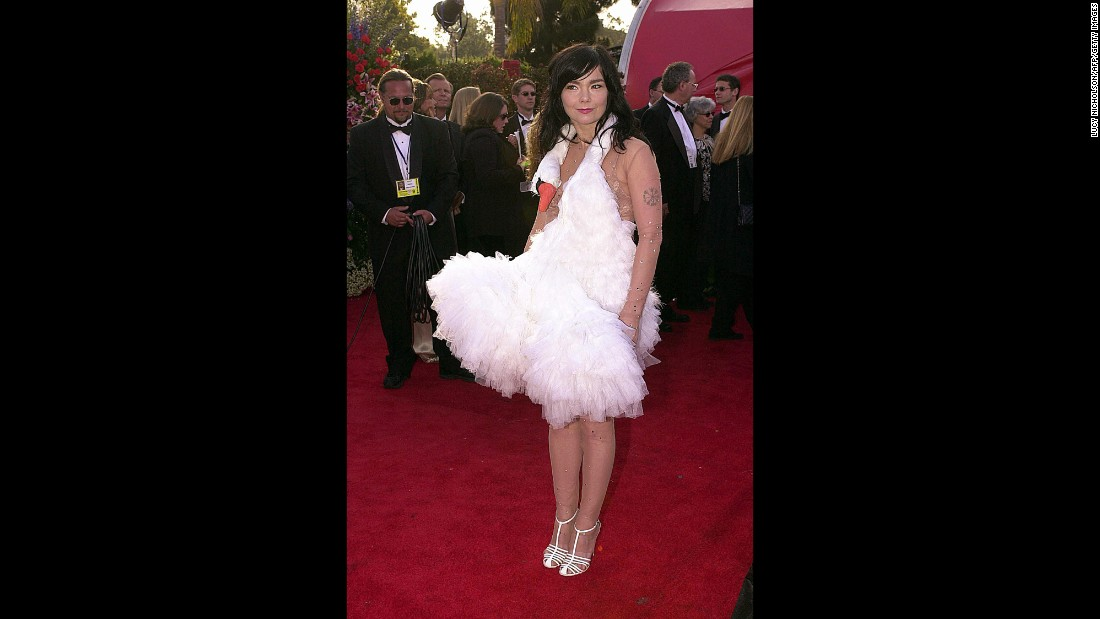 Actress and singer Bjork arrives at the Academy Awards at the Shrine Auditorium in Los Angeles in March 2001.