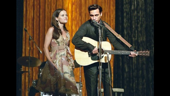 """Reese Witherspoon and Joaquin Phoenix played real-life couple June Carter and Johnny Cash in 2004's """"Walk the Line."""" Phoenix earned a nomination for his performance; Witherspoon won."""