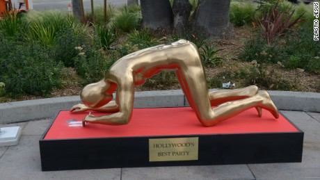 'Plastic Jesus' says his art installation is a commentary on the prevalence of drug abuse in Hollywood.