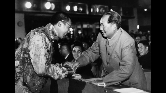 The Dalai Lama shakes hands with Chinese communist leader Mao Zedong in 1954. Up until 1959, the Dalai Lama participated in unsuccessful peace talks with Chinese officials in Beijing.