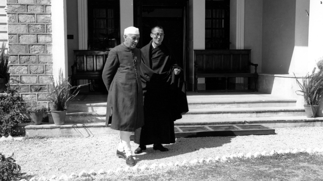 Indian Prime Minister Jawaharlal Nehru visits the Dalai Lama in 1959 at the Birla House in Mussoorie, India. In 1960, the Dalai Lama moved to Dharamsala, where he established the headquarters of the Tibetan government in exile.