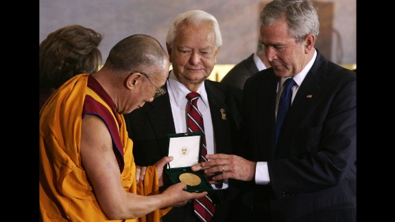 United States President George W. Bush presents the Dalai Lama with the Congressional Gold Medal in 2007.