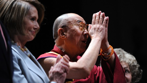 United States House of Representatives Speaker Nancy Pelosi awards the inaugural Lantos Human Rights Prize to the Dalai Lama in October 2009, honoring his commitment to ending global injustices.