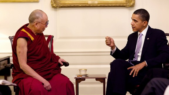 United States President Barack Obama meets with the Dalai Lama at the White House on February 18, 2010.