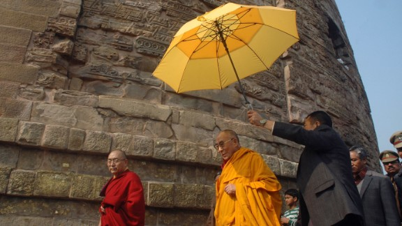 "The Dalai Lama visits the Dhamek Stupa in Sarnath, India, on January 11, 2013. The area is said to mark the spot where Buddha first addressed disciples after attaining enlightenment. In 2013, a senior Chinese official said, ""The Dalai Lama has long been engaged in secessionist activities, which run against both the common interests of people of various ethnic groups and the traditions of Tibetan Buddhism."""
