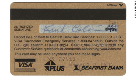 Curt Cobain's credit card is currently up for auction.