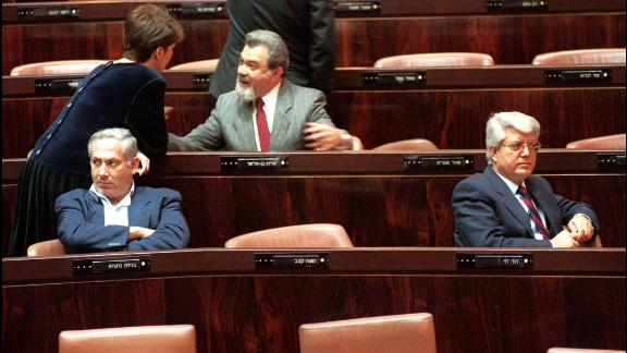 Netanyahu and former foreign minister David Levy sit in the Knesset during the vote for a new Israeli President on March 24, 1993.