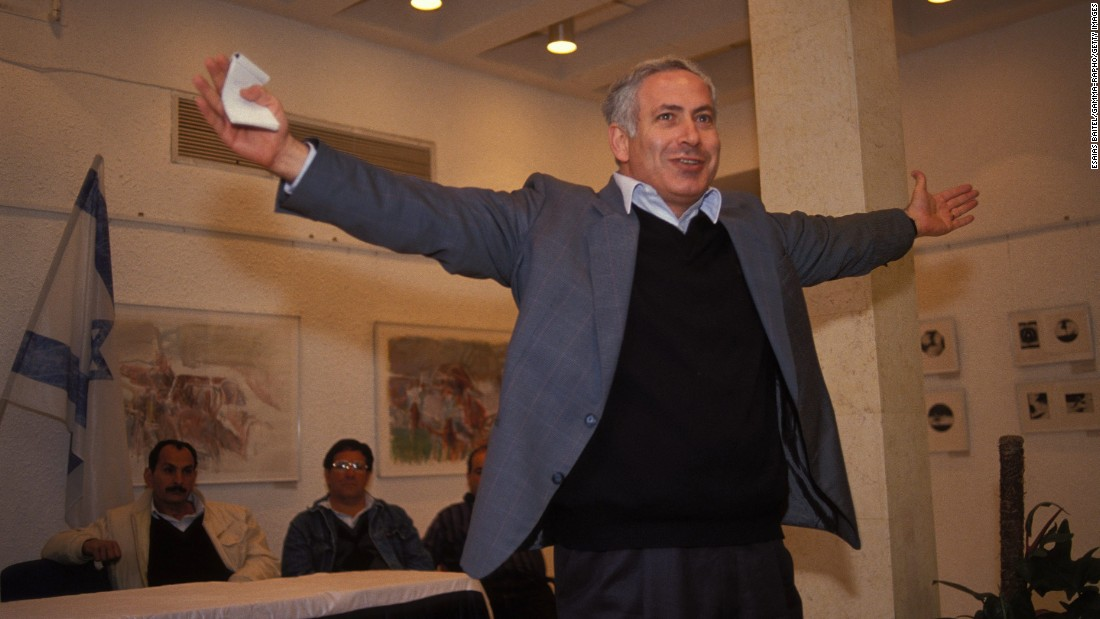 Netanyahu celebrates after being elected chairman of the right-wing Likud party on March 21, 1993.