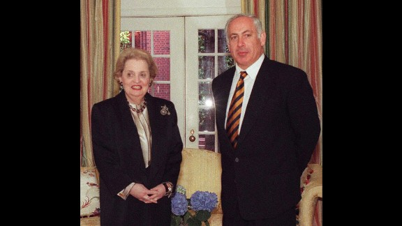 Netanyahu meets with US Secretary of State Madeleine Albright in Washington in February 1997.
