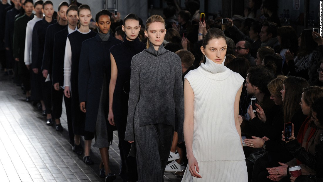 Designer Paula Gerbase trained in both womenswear and tailoring (she was head designer for Savile Row tailor, Kilgour) before starting her own line, 1205. This season featured minimalist ribbed knits and a neutral palette.