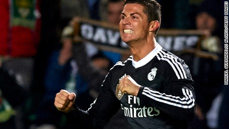 Cristiano Ronaldo celebrates his goal for Real Madrid in a 2-0 win over Elche in a La Liga clash.