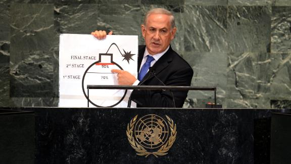 Netanyahu uses a diagram of a bomb to describe Iran