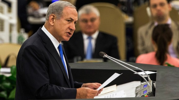 "Netanyahu speaks at the UN General Assembly on October 1, 2013. He accused Iranian President Hassan Rouhani of seeking to obtain a nuclear weapon and described him as ""a wolf in sheep"