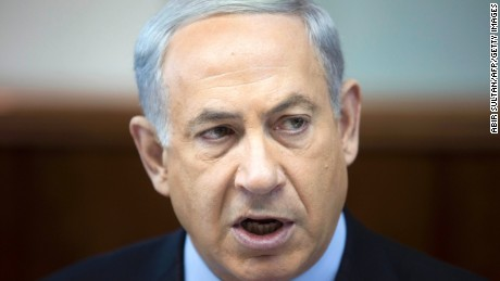 "Netanyahu speaks as he chairs the weekly cabinet meeting on November 24, 2013 at his office in Jerusalem. Netanyahu slammed a nuclear deal between Iran and world powers as a ""historic mistake."""