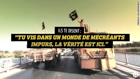 "The French government tells young Internet users about its video, ""'They (ISIS) tell you 'You live in a world of pure miscreants,' the truth is here.'"""