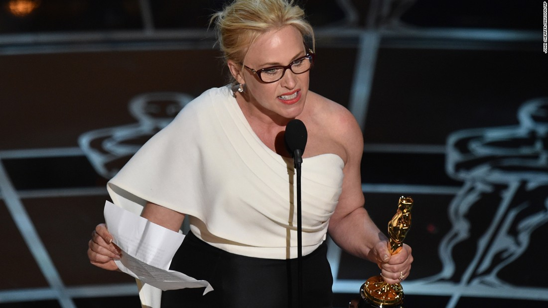 """Boyhood"" co-star Patricia Arquette accepts the Oscar for best supporting actress. ""We have fought for everybody else's equal rights. It's our time to have wage equality once and for all. And equal rights for women in the United Stares of America,"" she said to rousing applause."