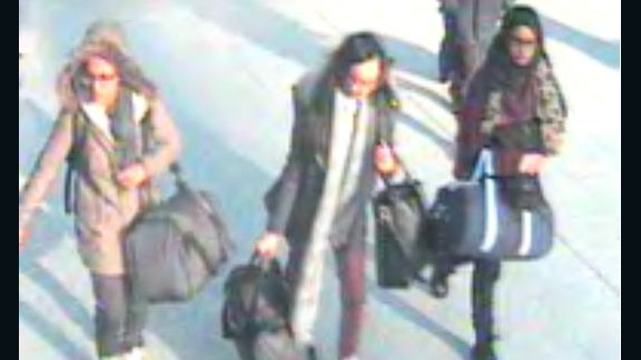 Three British teens were spotted at Gatwick Airport on their way to Turkey in February.