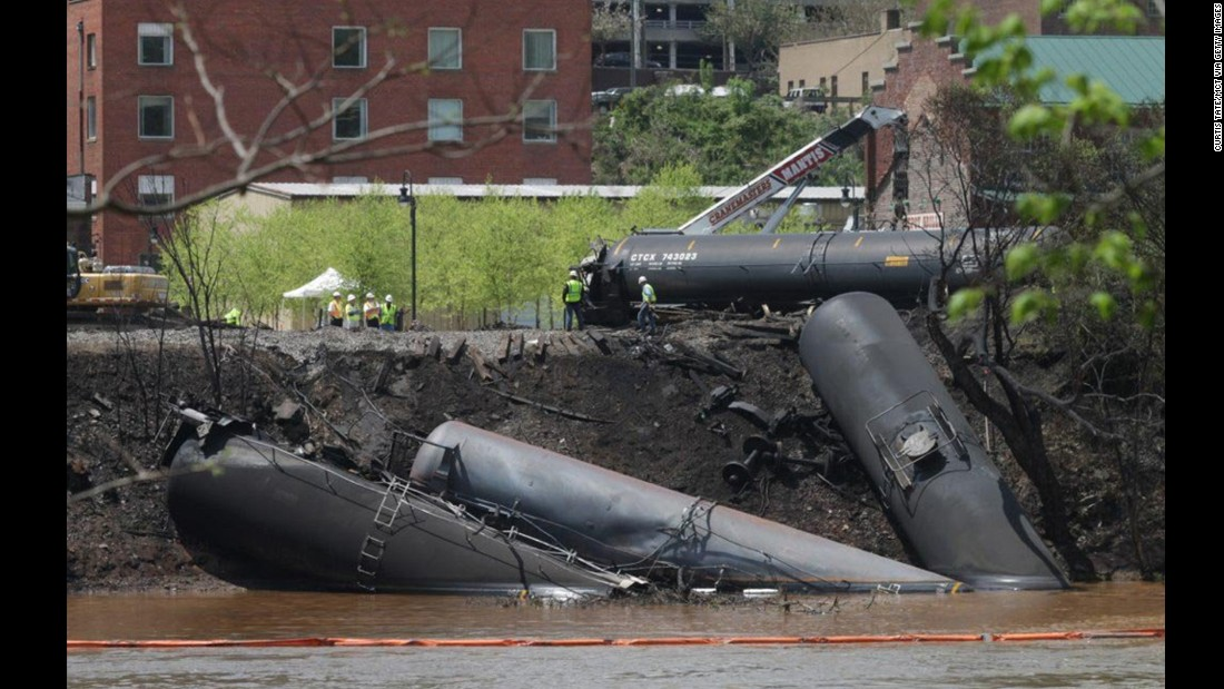 "A train full of crude oil<a href=""http://www.cnn.com/2014/05/01/us/virginia-train-derailment/index.html""> jumped the tracks and caught fire</a> in Lynchburg, Virginia, in May 2014. There were no injuries in the derailment, but the resulting fire sent a pillar of black smoke rising over the city of about 78,000 people and forced the evacuation of much of its downtown for several hours.<br />"