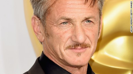 Presenter Sean Penn poses in the press room during the 87th Annual Academy Awards at Loews Hollywood Hotel on February 22, 2015 in Hollywood, California.