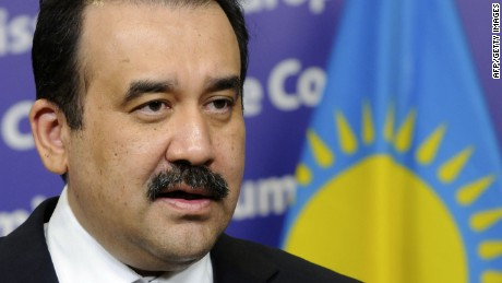 (FILES)-- A file photo taken on May 2, 2012 shows Kazakhstan's Prime Minister Karim Massimov speaking during a press conference with European Union Commission President at the EU Commission headquarter in Brussels. AFP PHOTO / Thierry CharlierTHIERRY CHARLIER/AFP/Getty Images