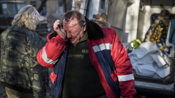 A member of a Ukrainian military medical unit cries during a ceremony in Artemivsk, Ukraine, on February 23. Four of his comrades were killed near Debaltseve, Ukraine.